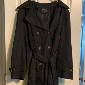 Avenue MidLength Black Trench Coat Double Breasted